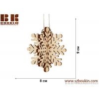 Buy cheap Laser plywood 3D snowflake ornament, Xmas tree decoration, wood shape craft supply, unpainted DIY Christmas, winter wood from wholesalers
