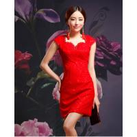 Buy cheap Sexy V Neck Short Qipao Wedding Dress / vintage Lace cheongsam wedding dress from wholesalers