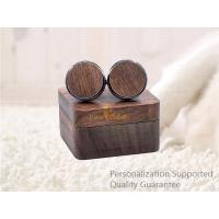 Buy cheap Men's Accessories Vacation Gifts Black Walnut Wooden Cuff Links with Gift Box, Laser Engraved Logo, Small Order product