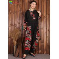 Buy cheap Chinese Style Womens Linen Suits Clothing Black Blouse And Pants Casual Suit from wholesalers