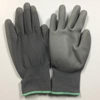 Buy cheap Grey PU palm coated gloves with polyester seamless shell from wholesalers