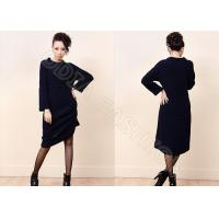 Buy cheap Black Cellular Knit Womens Long M Sweaters with Crew Neck for Winter / Autumn from wholesalers