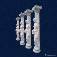 Buy cheap European Style White Marble Stone Porch Columns , Decorative Stone Pillars from wholesalers