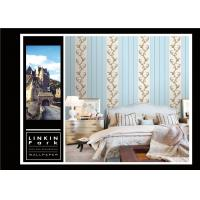 Buy cheap Light Blue Vintage Striped Wallpaper / Embossed Wall Coverings Home Decor product