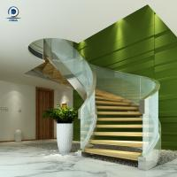 Buy cheap Prefabricated steel curved staircase with tempered glass balustrade from wholesalers