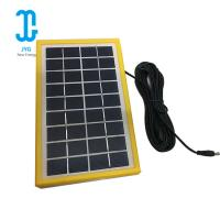 China 220ma Polysilicon Epoxy Solar Panel 3W 6V Tempered Glassyellow Frame on sale