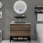 Buy cheap 100 Inch Modern Sink Vanity , Touch - Type Round Mirror Modern Bath Vanity from wholesalers