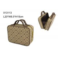 China Square Zippered PU Makeup Cosmetic Bag , Brown Makeup Bag Personalized on sale