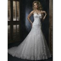 Buy cheap White Trumpet Strapless Sweetheart Lace Organza Lace Wedding Dresses / Bridal Gown from wholesalers