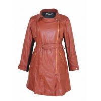 Buy cheap Fashion Low Collar Ladies Pu Jackets With Zipper And Waist Belt Medium Coat Length from wholesalers