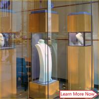 Buy cheap Customized tempered glass jewelry display glass tower case,glass display counter for jewelry show from wholesalers
