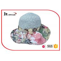 Buy cheap Flower wavy wide brimmed straw hat with customized hatband and sweatband from wholesalers