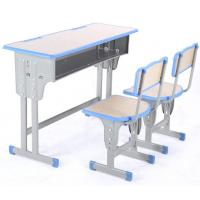 China Double Seater School Desk And Chair 2 Person Adjustable School Desk And Chair metal school furniture on sale