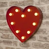 Buy cheap Vintage Red Heart Shape Metal 9'' LED Light Up Letters Circus Style for Lovers from wholesalers