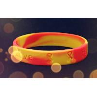 Buy cheap Embossed Printed Silicone Wristbands With Colour Mixture , Customizable Silicone Bracelets from wholesalers