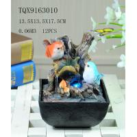Bird On Bush Resin Small Outdoor Water Fountains With Circling Water Highlight