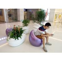 Buy cheap Indoor Shopping Mall Fiberglass Resin Statues Decorative White Color Flower Pots from wholesalers