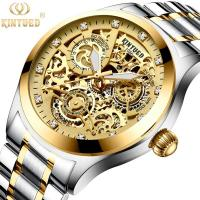 Buy cheap KINYUED good quality tourbillon movement watches men luxury brand automatic mechanical mens watch from wholesalers