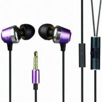 Buy cheap Noise-cancelling Metal In-ear Earphones for iPhone/Mobile Phones, with Volume Control and Microphone from wholesalers