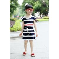 Multi Strips Girls Plain Cotton Dress , Little Girls Casual Dresses With Drawstrings Waist