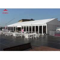 Buy cheap 10 x 24m White Reinforced Pvc Fabric High Peak Tent For 200 People / Roof Top Polygonal Tent product