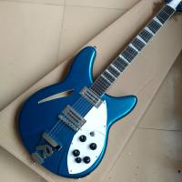 Buy cheap 2018 Best Bass Top quality 12 strings Hollow body Electric Bass guitar in Metallic blue color, Chrome hardware from wholesalers