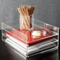 Buy cheap Clear desk top Acrylic Storage Boxes , 2 tier acrylic file holder from wholesalers