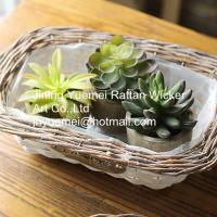 Buy cheap 2016 new style wicker garden baskets rectangle shape willow plant basket white color from wholesalers