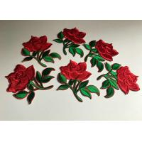 Buy cheap Flower Embroidered Iron On Appliques , Large Red Rose Floral Patches For Clothes from wholesalers