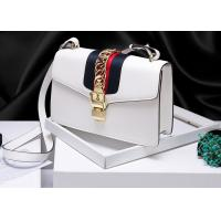 Buy cheap Leather Single Shoulder Bag With Lock Buckle , Slanting Bow Tie Striped Satin Ribbon Bag from wholesalers