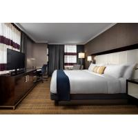 Buy cheap Hotel Standard Double Room Interior design of Furniture in Fabric upholstered headboard and Leather Bed with TV cabinet from wholesalers