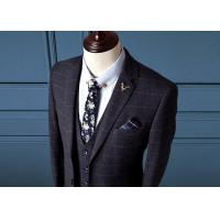 Buy cheap Navy Blue Mens Check Suits / Tweed Suit 3 Pieces Flat Pockets Zipper Fly Pant Closure from wholesalers