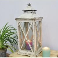 Buy cheap Vintage White Rustic Antique Vintage Windproof Candle Holder Ornaments Handmade Decorative Wedding Wooden Candle Lantern from wholesalers