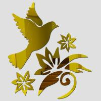 Buy cheap 3D mirror wall stickers decorative wall mirror birds and flowers for kids room from wholesalers