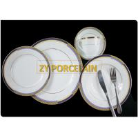 Microwave Oven Dishwasher Round Dinnerware Sets , 20 PCS GOLD Plates Dishes Dinnerware