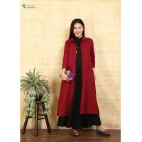 Buy cheap Burgundy Single - Breasted Double Layer Coat With Split For Autumn Clothing from wholesalers