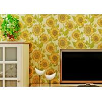 Buy cheap Sunflower Pattern Living Room Modern Wallpaper With Embossed Surface , Golden Color from wholesalers