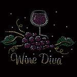 Buy cheap Wine Dina Hotfix Nailhead Custom Rhinestone Transfers Popular Motif Designs from wholesalers