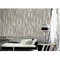 Buy cheap PVC Modern Style Grey And White Wallpaper Feather Design For Sitting Room product