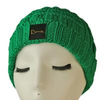 China High quality unisex customize logo green winter knitted  hats caps for fashion on sale