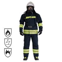 Buy cheap Black / Fluorescent Flame Retardant Coveralls , Water Resistance Fireman Sam Suit from wholesalers