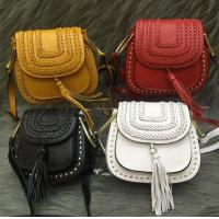 Buy cheap Female head layer of leather 2016 new European and American fashion rivet fringed shoulder bag Messenger packet from wholesalers