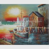 Buy cheap Sunrise Senery Orange Boats Oil Painting Sailboat Canvas Art For Parlour product