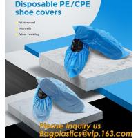 Buy cheap Safety Products Equipment Indoor Disposable medical plastic shoe covers waterproof PE CPE material,PE material blue shoe from wholesalers
