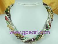 Buy cheap wholesale multi-color four strands twisted pearl necklace from wholesalers