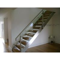 Buy cheap Glass staircase Framless Balustrading Stainless Stringer Wood Treads from wholesalers