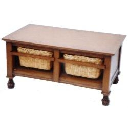 Coffee Table With 2 Rattan Storage Baskets 35013690