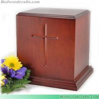 Buy cheap Carved Cross Wood Urn from wholesalers