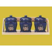Buy cheap Stoneware Canister Set Stoneware 3-pc Canister Set with Wooden Tray(set of 4) from wholesalers
