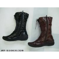 Buy cheap High quality Competitive price black color leather material lady winter boots from wholesalers